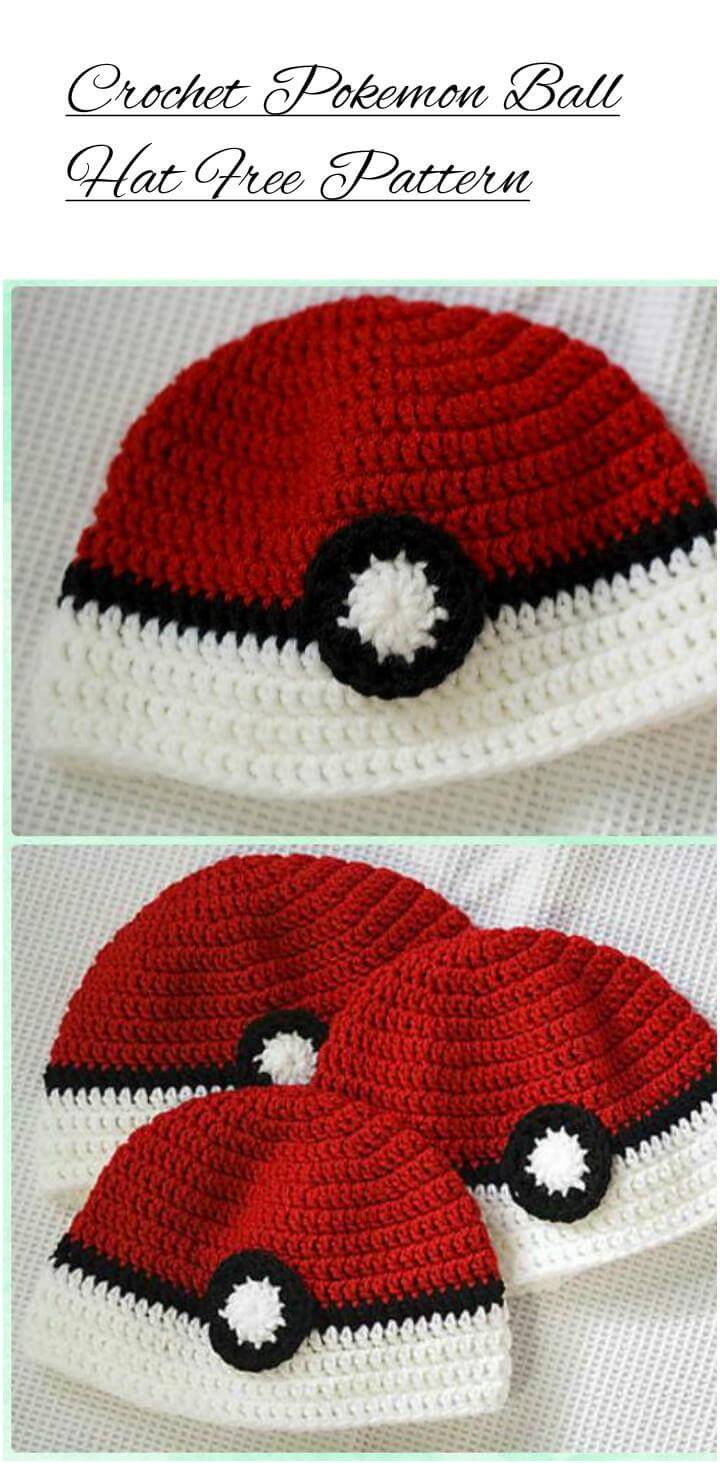 free crochet pokemon ball hat pattern