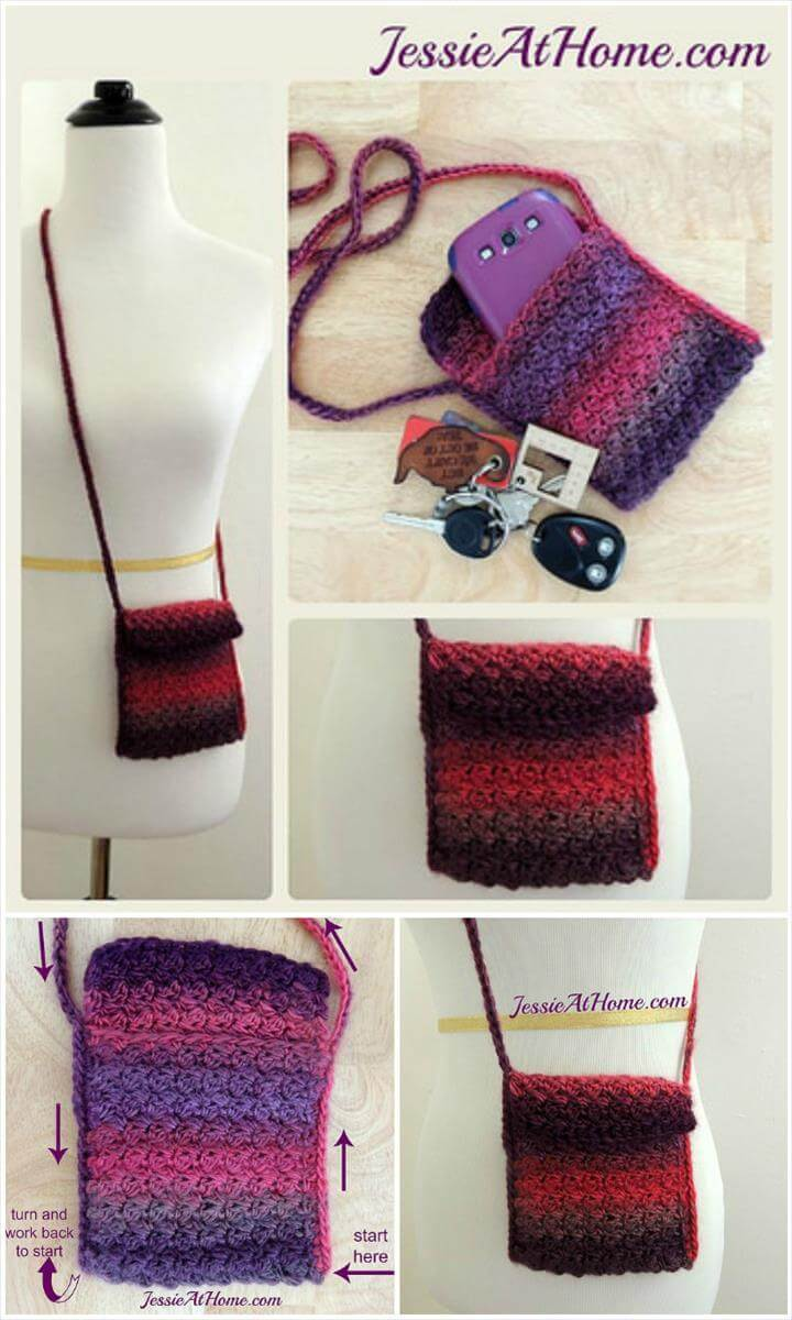 ombgre crochet little bag free pattern
