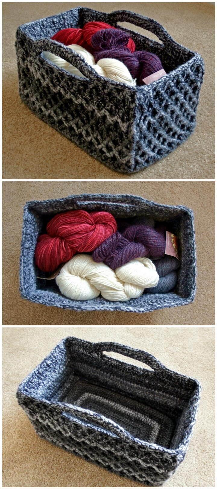 Crochet Rectangle Basket Pattern Free : 10 Free Crochet Basket Patterns for Beginners 101 Crochet