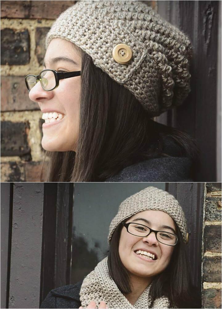 easy crochet sandy slouchy hat pattern