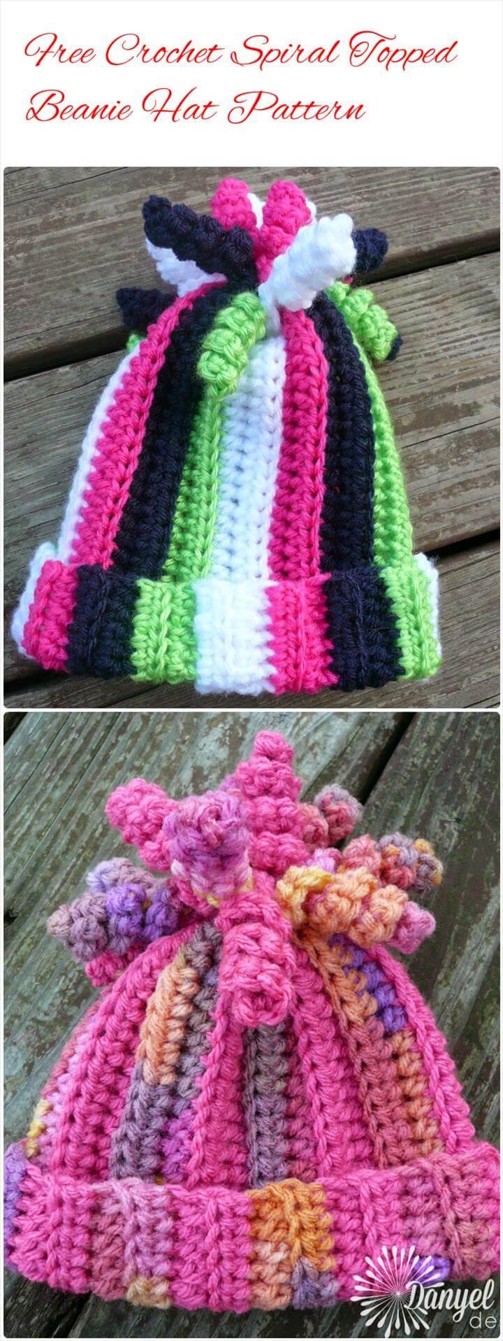 crochet spiral topped beanie hat