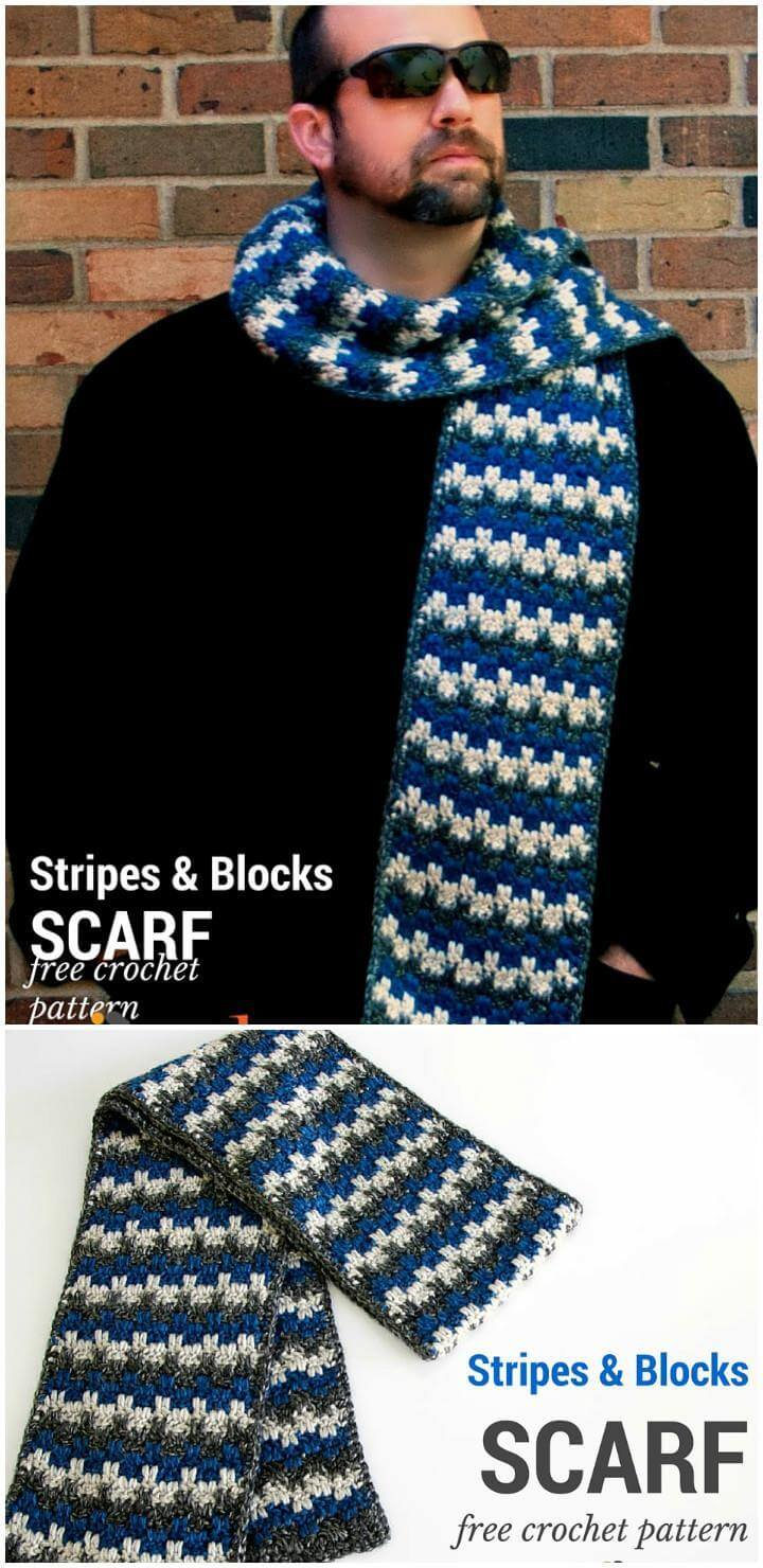 easy crochet stripes and blocks free pattern