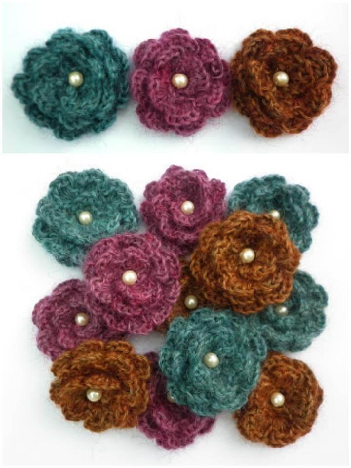 crochet yarndale flower brooch