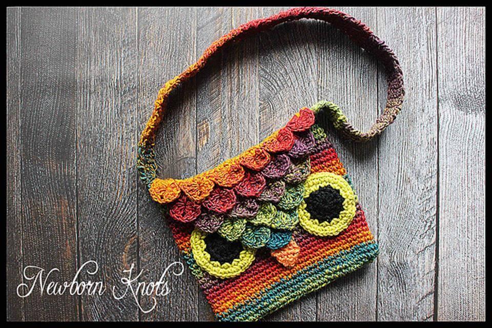 crocodile stitch crochet owl bag