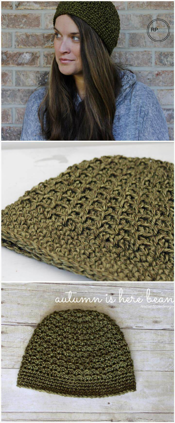 free crochet autumn beanie pattern