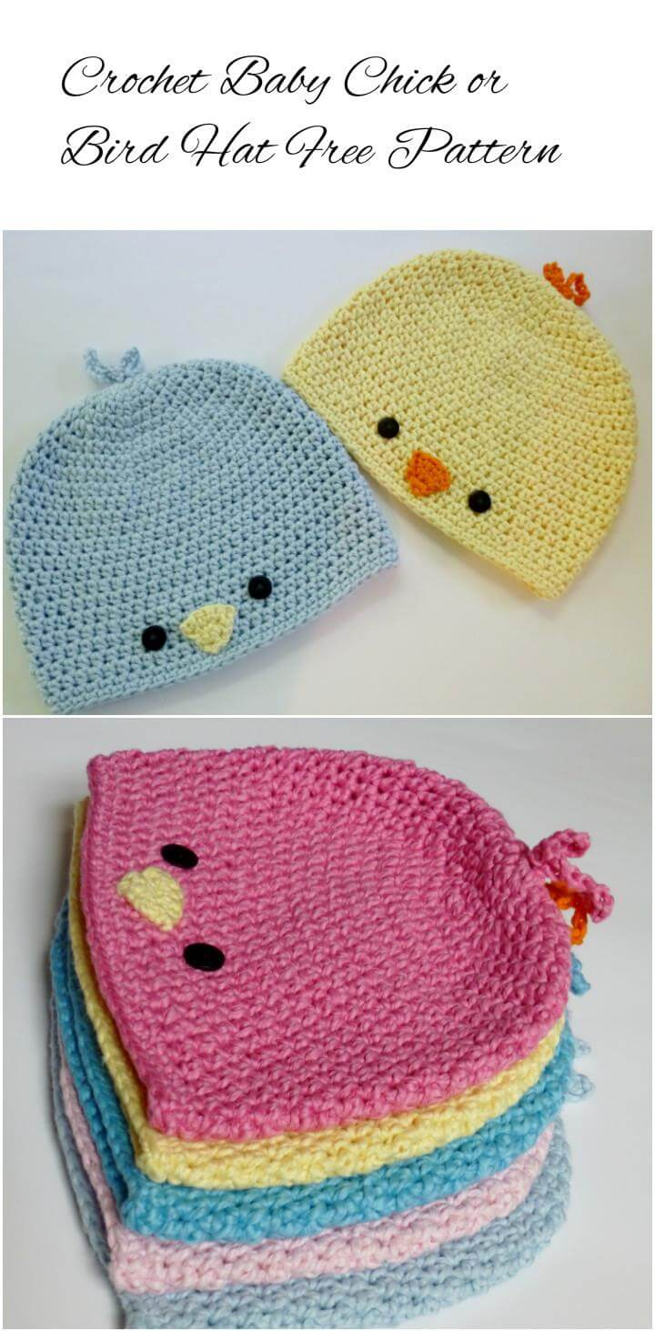crochet baby bird or chick hat
