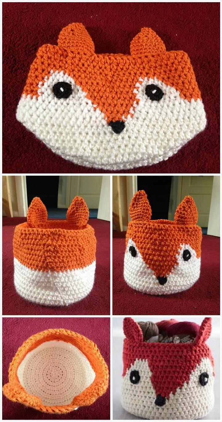 Free Crochet Pattern Fox Basket : 10 Free Crochet Basket Patterns for Beginners 101 Crochet
