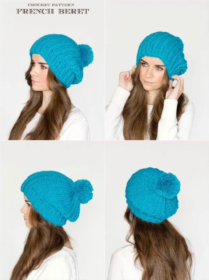 easy crochet french pom pom beret pattern