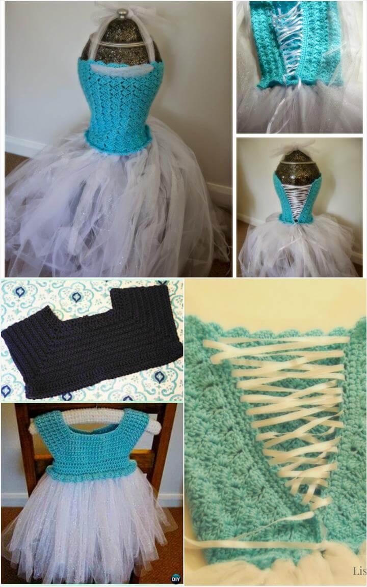 free crochet frozen inspired tutu dress pattern