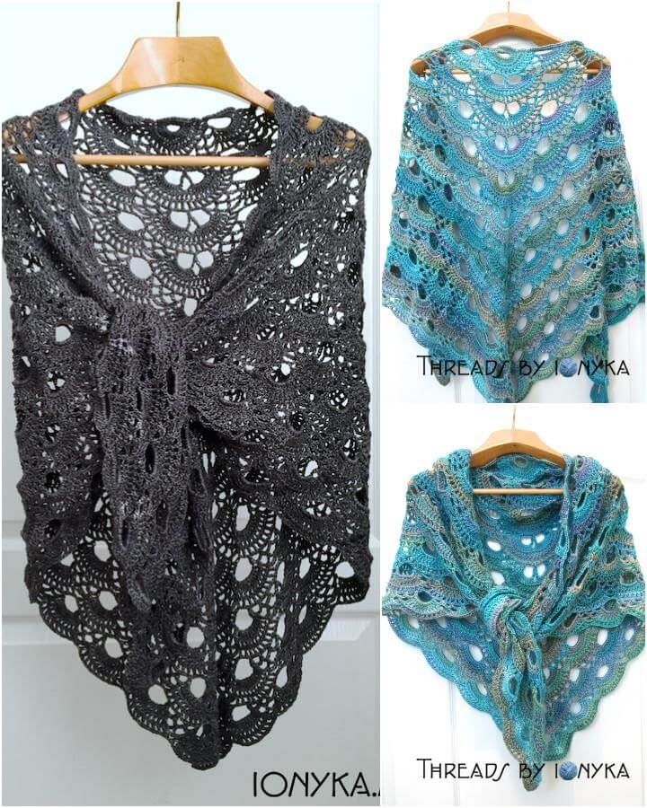 free crochet german scalloped shawl pattern