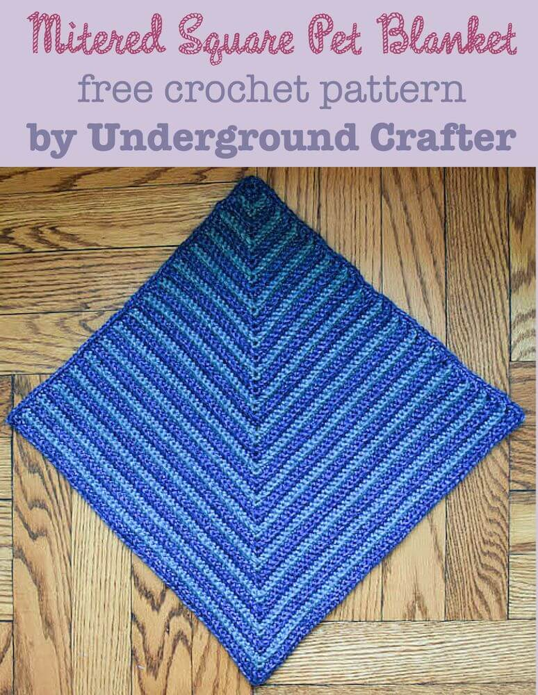 mitered square crochet free pet blanket pattern